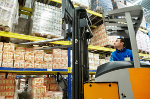 warehouse stacker loader worker